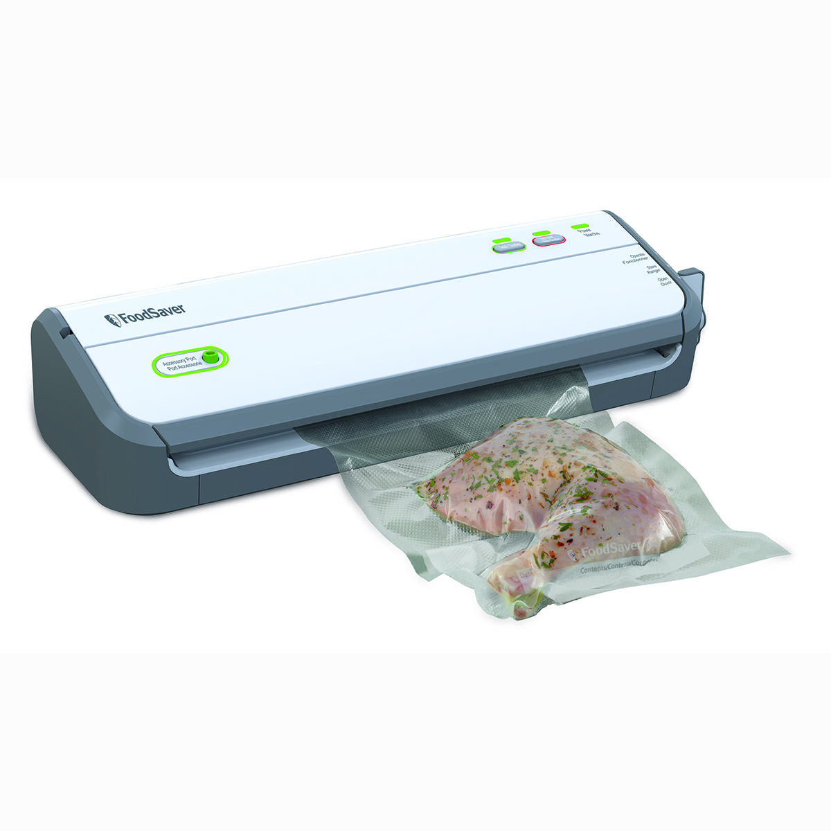 Vacuum sealers work in tandem with specially designed plastic bags. The vacuum sealer sucks all the air out of the bag and then seals the bag's opening with heat. This protects the food in the bag from oxidation, too much or too little humidity, mold spores, bacteria, and freezer burn.