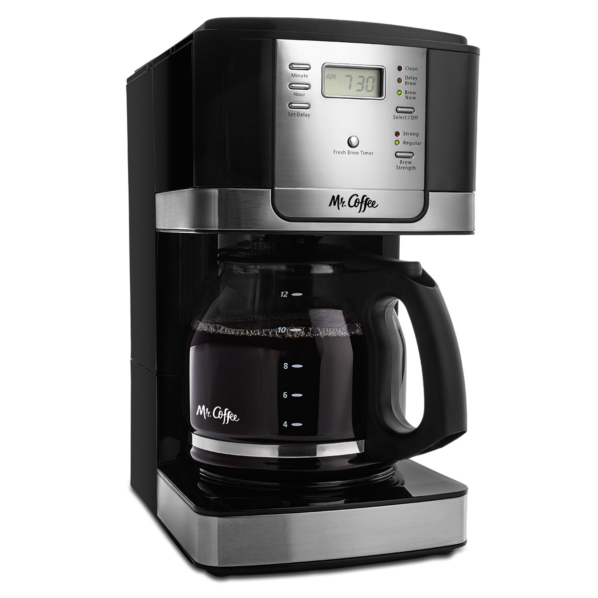 Mr Coffee Advanced Brew 12 Cup Programmable Maker Black Stainless Steel Accents JWX27 RB